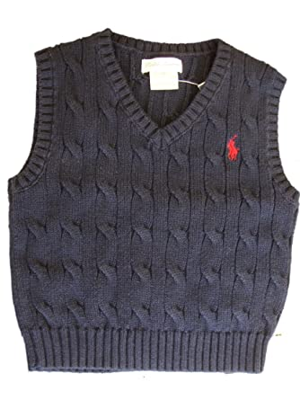 Polo Ralph Lauren Cable Knit Sweater Vest Infant-toddlers Boys (24 MONTHS,  NAVY