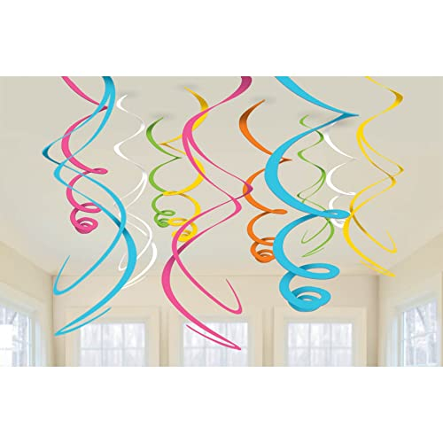 Multi Coloured Swirl Decorations, Pack of 12