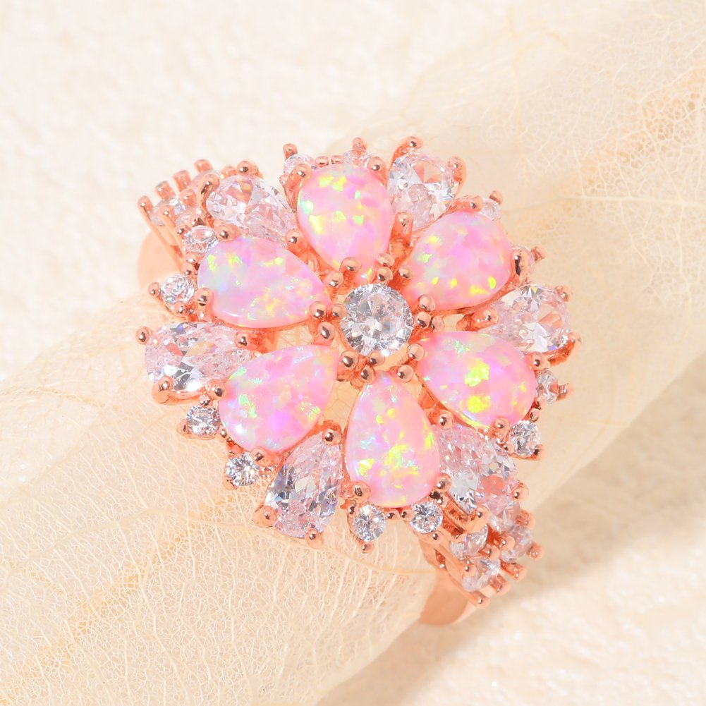 Amazon.com: CiNily Pink Opal Zircon Women Jewelry Gemstone Rose Gold ...