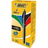 BiC - Bolígrafo de 4 colores (punta retráctil, 12 unidades)