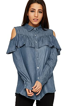 2aa83b8bc57a8 WearAll Women s Cut Out Cold Shoulder Denim Shirt Top Ladies Frill Long  Sleeve Button - Blue