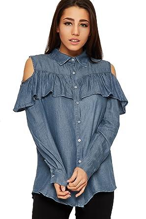 a6bdb6e4a1e177 WearAll Women s Cut Out Cold Shoulder Denim Shirt Top Ladies Frill Long  Sleeve Button - Blue