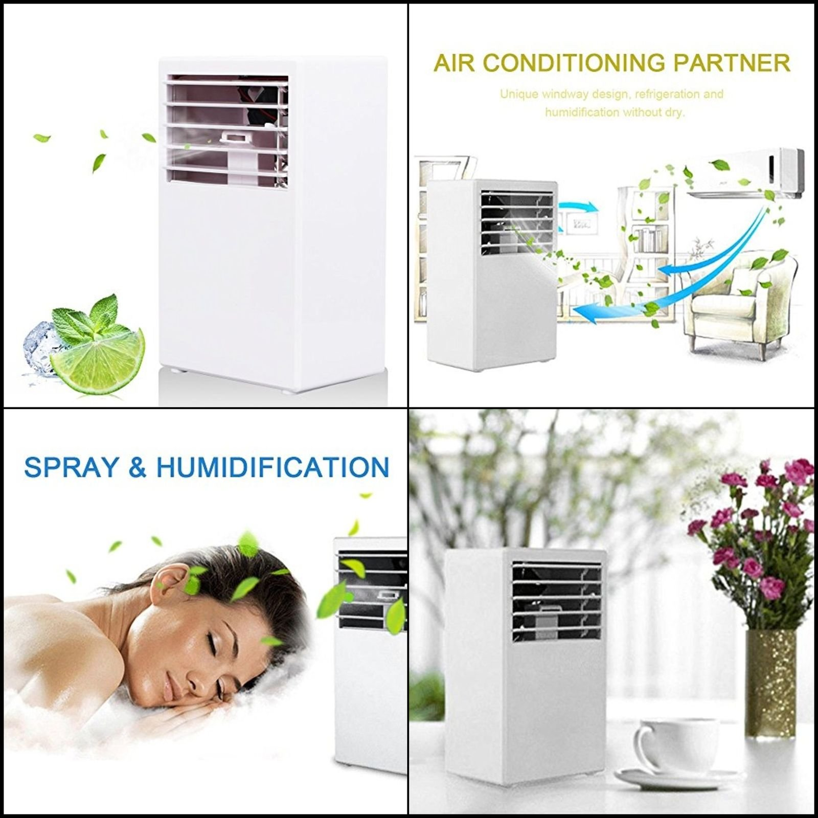 Portable Room Air Conditioner Office Sleep Mini Cooler Fan White Small Air NEW