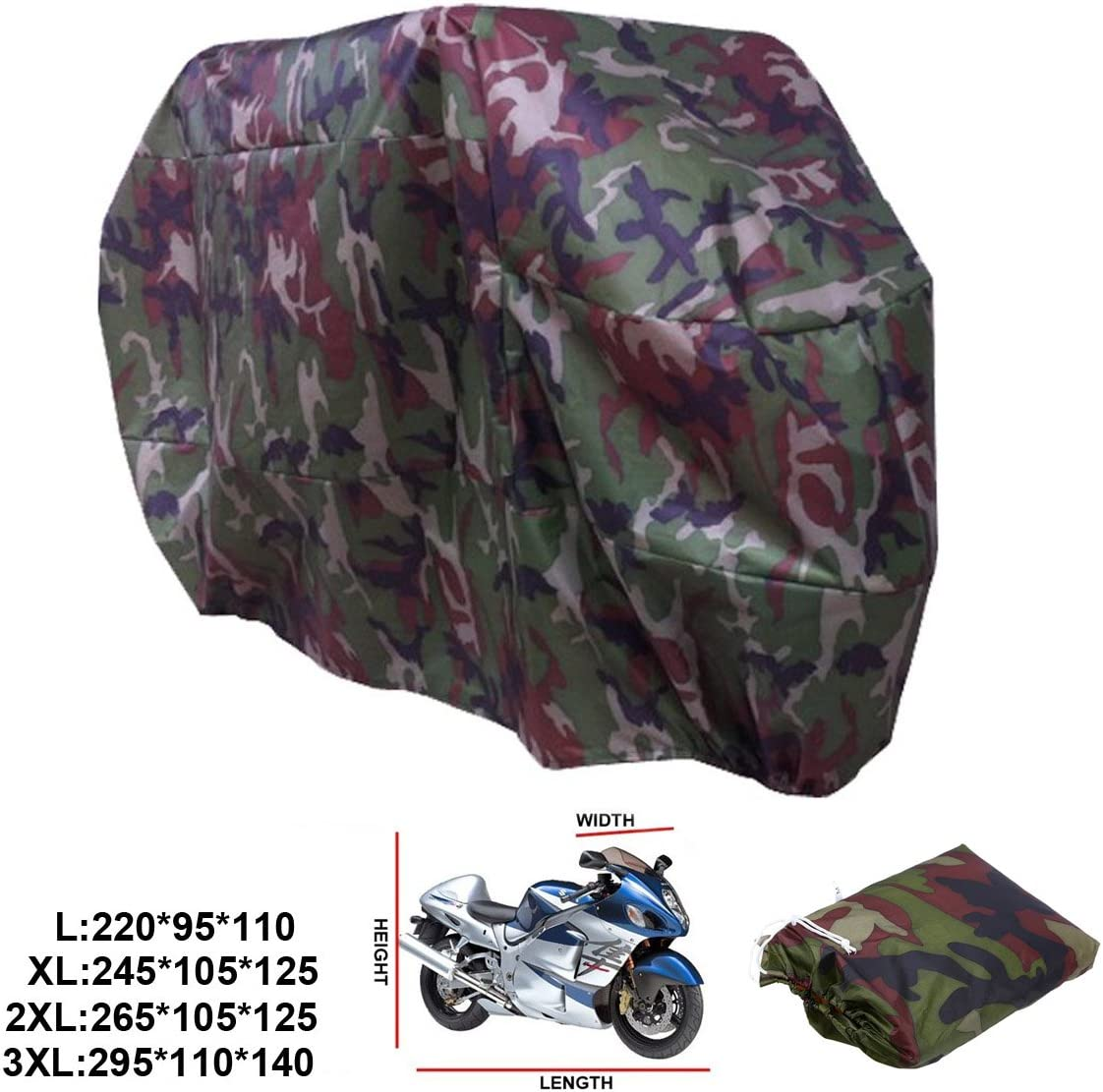ANFTOP Waterproof Motorcycle Cover 2XL Camouflage Color UV Rain Protective Dustproof Breathable Scooter Motorbike Cover With Carry Bag Outdoor Cover XXL