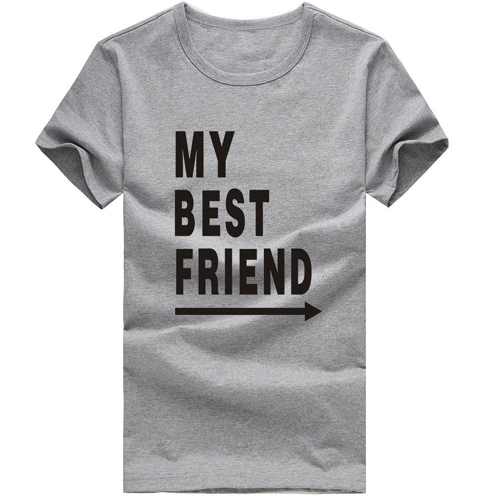 MISYAA Best Friend T Shirts for Men, Letters Muscle Tee Shirt Short Sleeve Sweatshirt Sport Tank Top Pals Gift Mens Tops Gray
