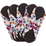 BAOBLADE 5 Pieces Female Reusable Soft Panty Liner Menstrual Pads Charcoal Bamboo - 4, as described