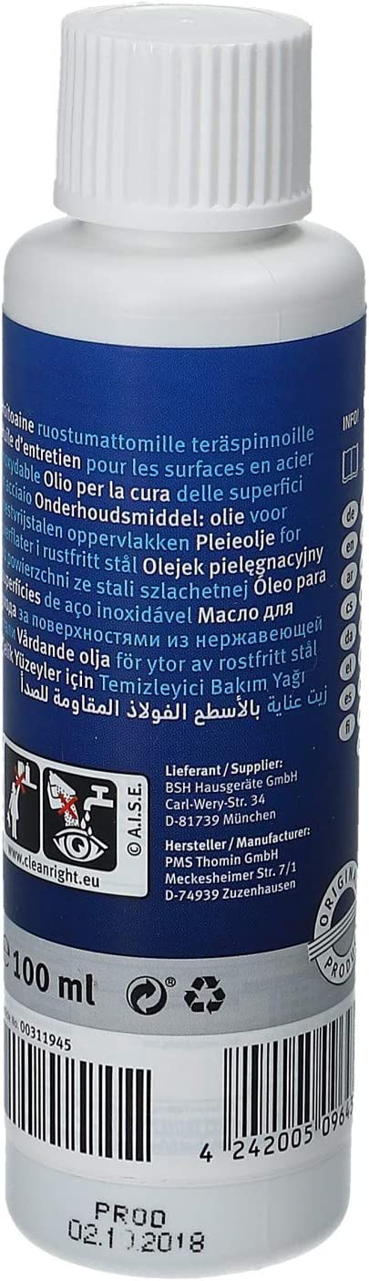 Bosch - Siemens - Neff - Aceite de Limpieza y Cuidado para Superficies de Acero Inoxidable: Amazon.es: Hogar