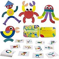 ZWOOS Tangram Madera Formas y Colores Puzzles de Madera 36 Montessori Puzzle de Madera + 50 PCS Diseño Tarjetas de…