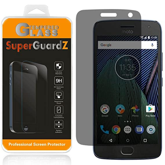 [2-Pack] Motorola Moto G5 Plus Tempered Glass Screen Protector [Privacy  Anti-Spy], SuperGuardZ, 9H Anti-Scratch, 2 5D Round Edge, Anti-Bubble