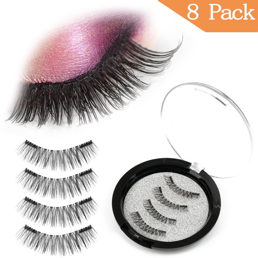 CBoner Magnetic False Eyelashes, 3D Fiber Reusable Lashes Extension,Long Lasting Natural and Bushy Professional Eye Lash [8 Pcs] (Black) haiqian
