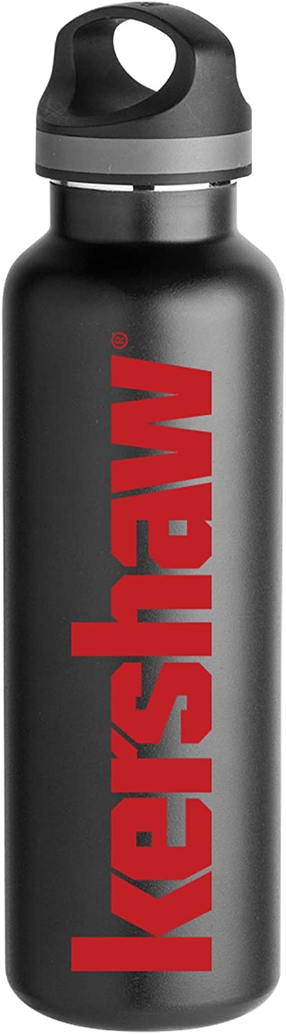 Kershaw Stainless Steel Water Bottle; 20 oz. Double-Wall Insulated with Iconic Red Kershaw Logo; BPA-Free, Insulated Handle Lid; Versatile and Durable for Active, On-the-Go Kershaw Knife Enthusiasts