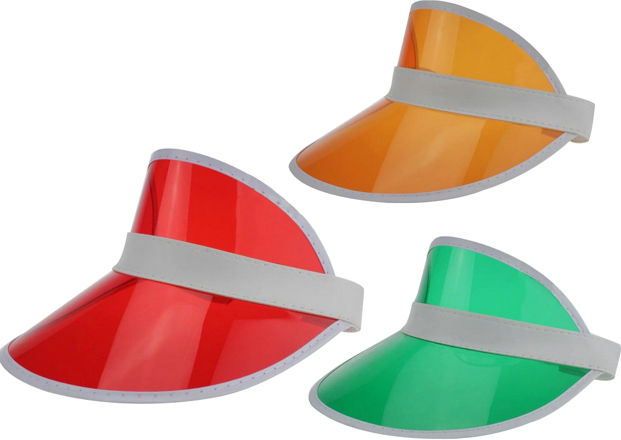 Ababalaya Unisex SPF 50+ UV Protection PVC Wide Brim Transparent Sun Visor Hat (Red+Orange+Green)