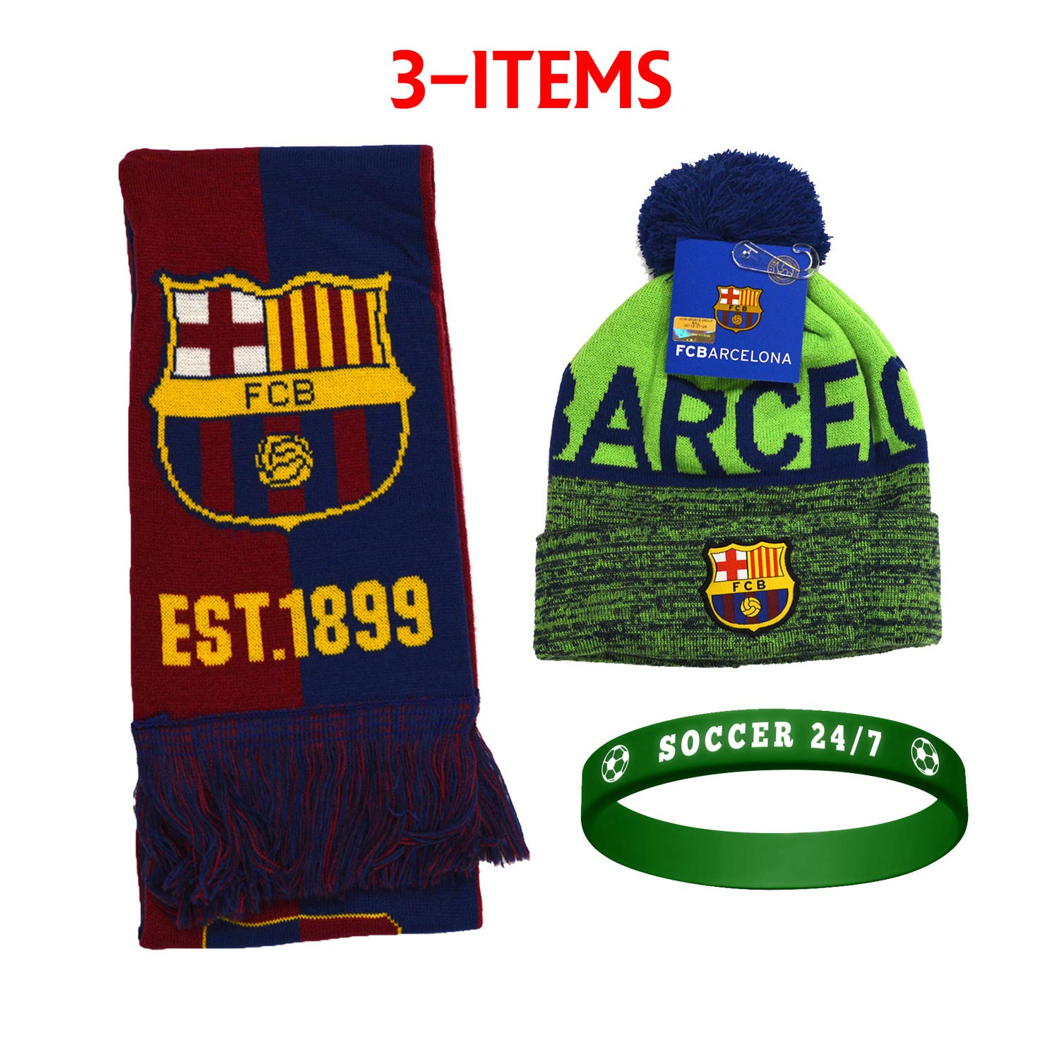 f2aa66ad6c2 FC Barcelona FCB Barcelona Set Beanie Skull Cap Hat and Scarf Reversible +  Silicone Soccer Quote ...