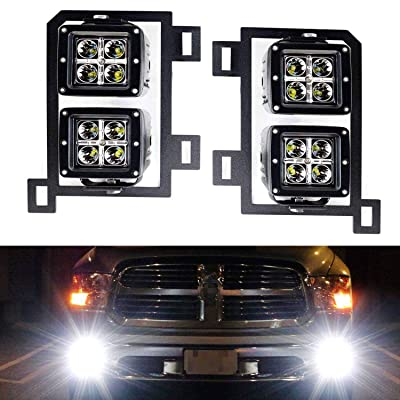 iJDMTOY Dual LED Pod Light Fog Lamp Kit Compatible With 2013-18 Dodge RAM 1500, Includes (4) 20W High Power CREE LED Cubes, Foglight Location Mounting Brackets & Wiring/Adapter Harnesses: Automotive