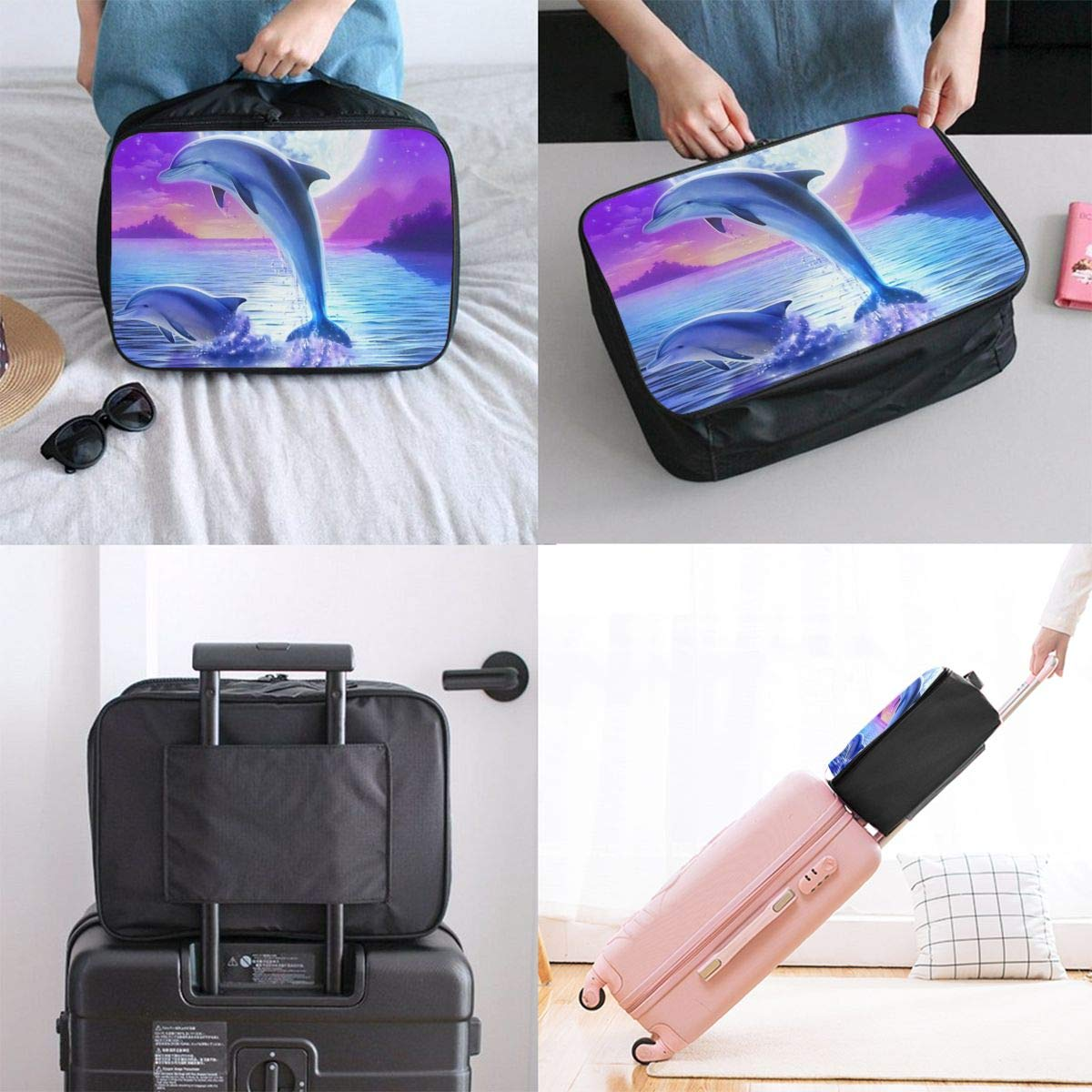 Dolphin Travel Duffel Bag Waterproof Fashion Unisex Lightweight Large Capacity Portable Luggage Bag for Women Men