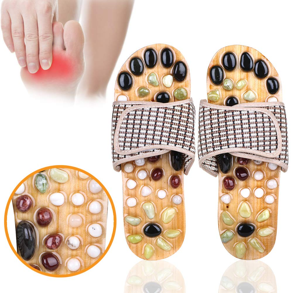 7f7bf0a094fde Amazon.com  Acupressure Massage Slippers with Natural Stone ...