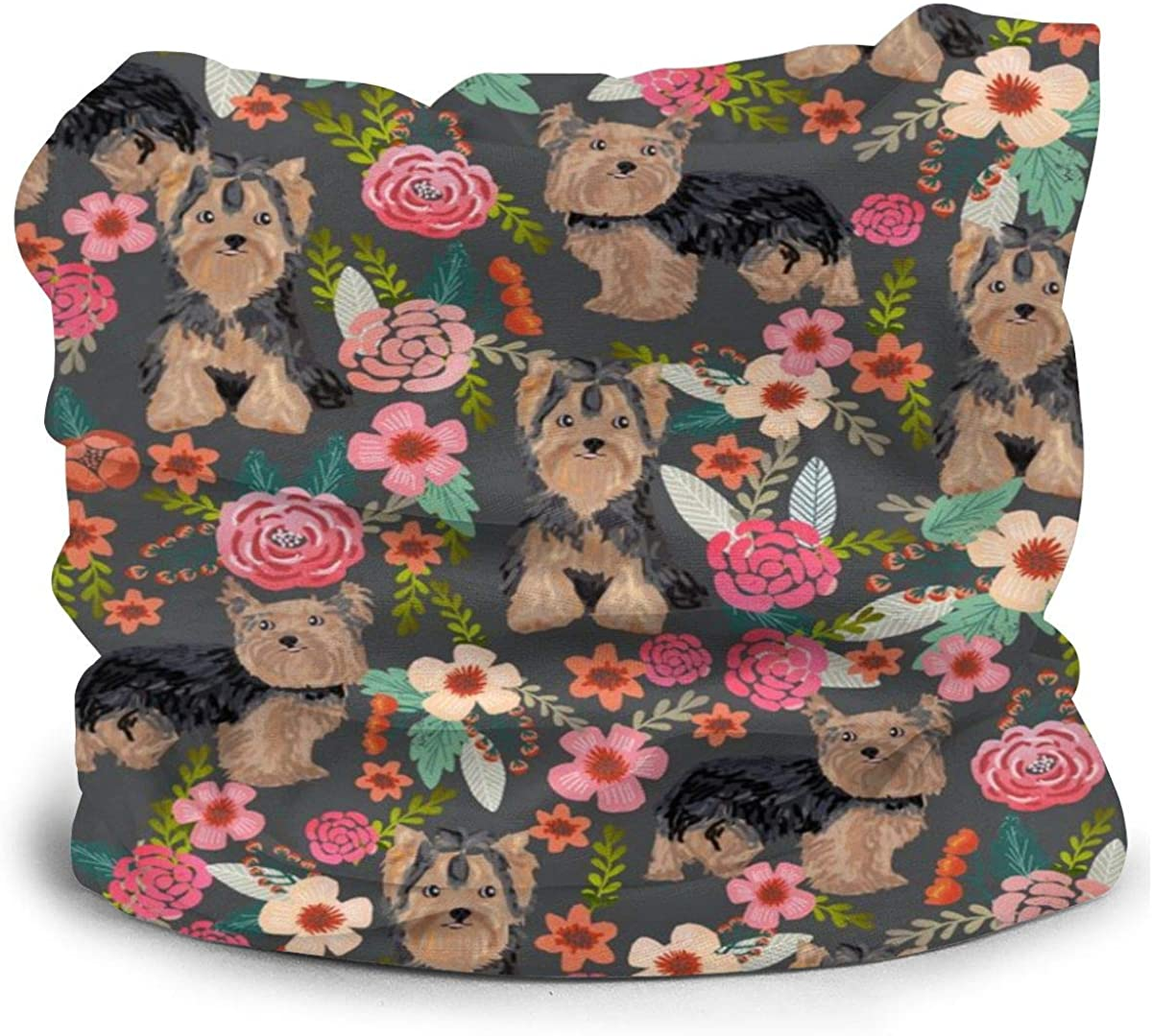 Yorkie Florals Yorkshire Terrier Floral Cute Dogs Kids Face Mask Dust Sun UV Protection Neck Gaiter Balaclava Face Cover Scarf Summer Breathable for Cycling Fishing Outdoors