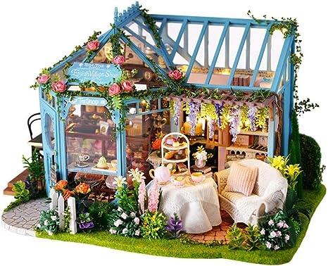 ZfgG DIY Dollhouse Rose Garden Tea House Modelo Mini Muebles Simulación con Luces Led y Polvo Cubierta Etc coleccionables de decoración for el hogar: Amazon.es: Hogar