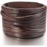 MunkiMix Grand Alliage Genuine Leather Véritable Bracelet Bracelet Menotte Brun Ton d'Argent Noir Blanc Réglable Convient 7~9 Pouce Homme