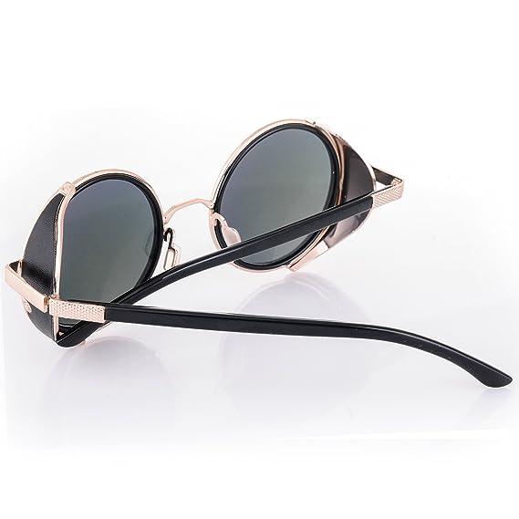Occhiali da sole Specchio Occhiali Rotondi Retro Vintage Uomo Dona rispecchiata Sunglasses 100%UV400 MFAZ Morefaz Ltd (Gold Mirror Blue Lens) BIeruw1