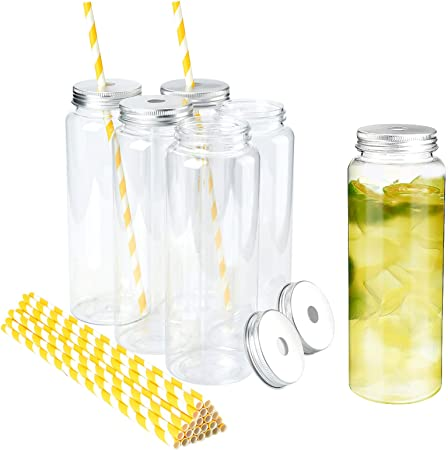 Large Clear Plastic Disposable Cups with Lids & Straws 100 count 32 oz Clear PET Cup for Cold Smoothie Iced Coffee Boba Bubble Tea Protein Shakes