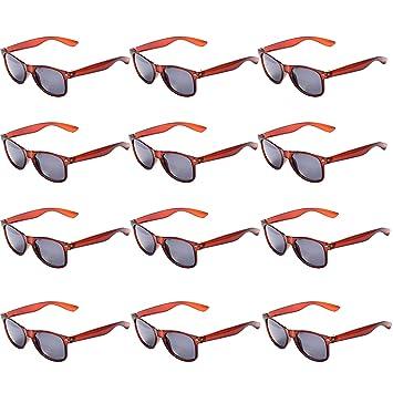OAONNEA 12 Pares Años 80 Neon Gafas de Sol de Colores Fiesta Adulto (12marrón)