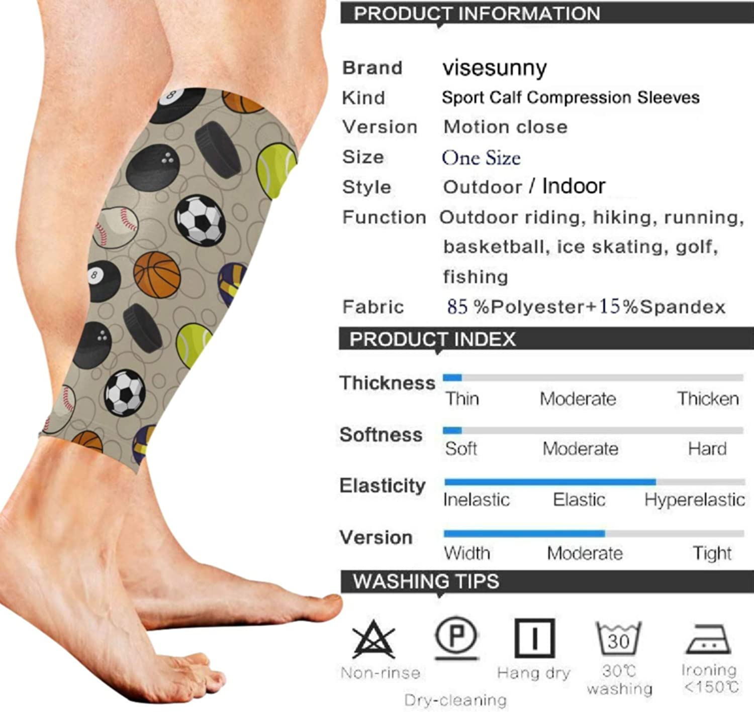 visesunny Color Sport Pattern Sports Calf Support Sleeves for Muscle Pain Relief, Improved Circulation Compression – Effective Support for Running, Jogging, Workout (1 Pair)