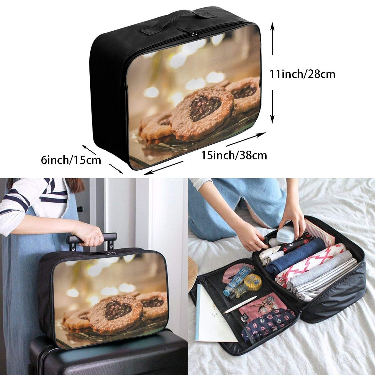 Travel Luggage Duffle Bag Lightweight Portable Handbag Biscuits Cookie Large Capacity Waterproof Foldable Storage Tote