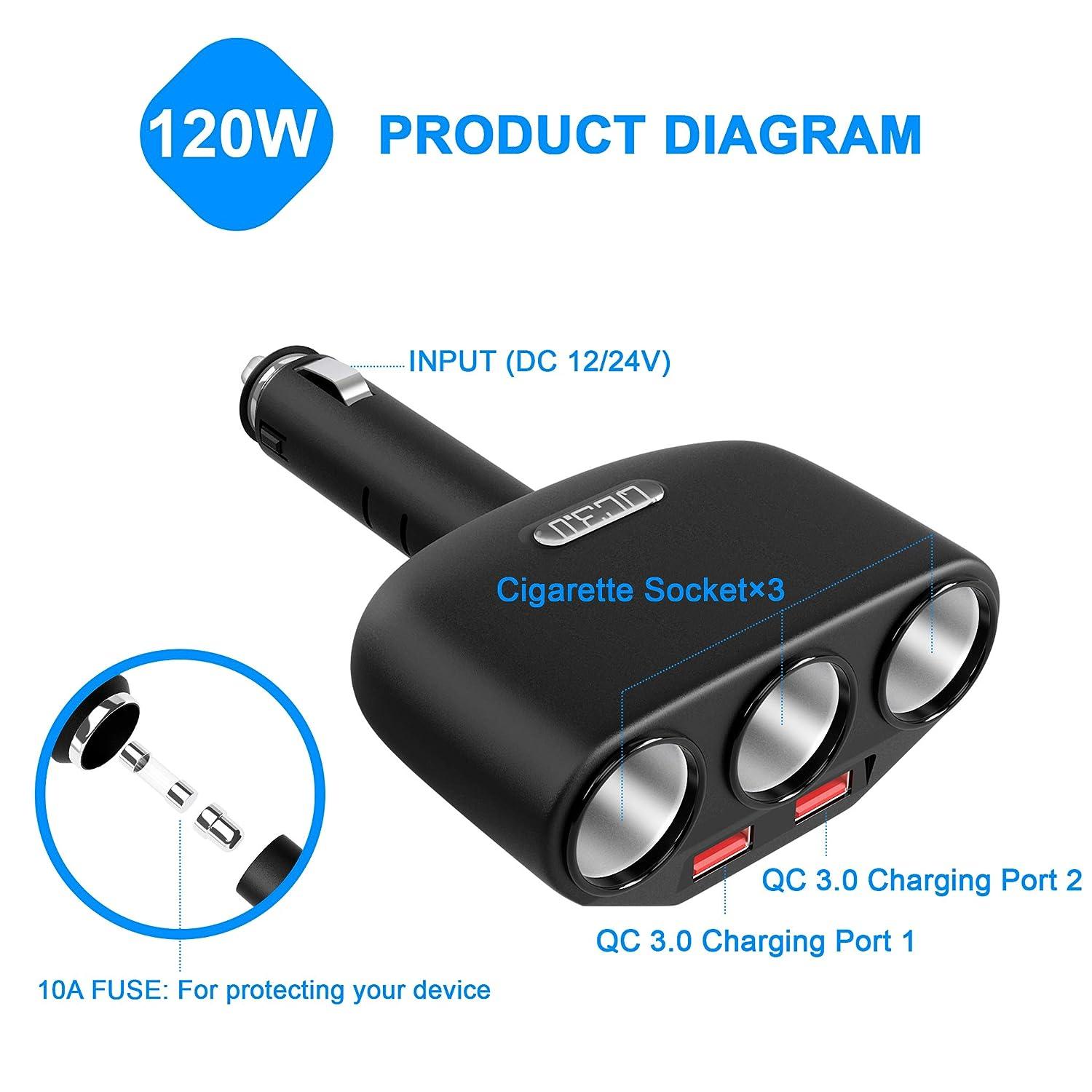 Cateck Adapter f/ür Autozigarettenanz/ünder mit 3 Anschl/üssen 18W GPS Ausgang 5V Autoladeger/ät mit 2 3.0 USB Schnellladeanschl/üssen Autozubeh/ör 2,4A f/ür Smartphones