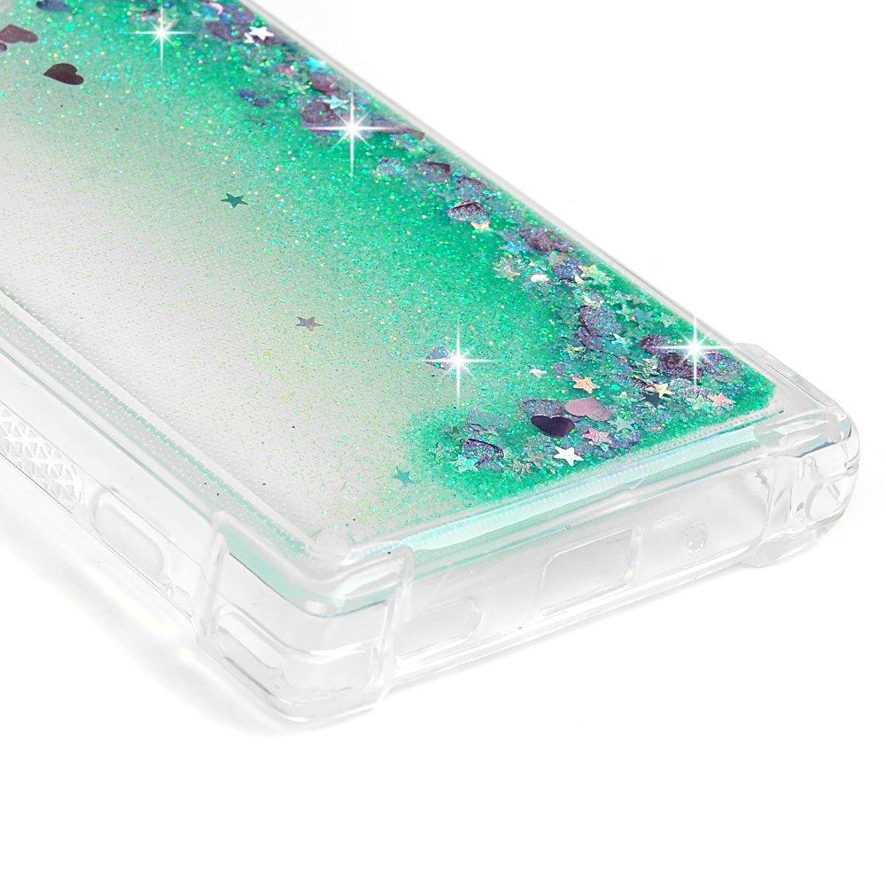 Tophung con purpurina transparente flotante Carcasa para Sony Xperia XA2 a prueba de golpes verde l/íquido para Sony Xperia XA2 con forma de coraz/ón brillante flexible suave TPU y antiara/ñazos
