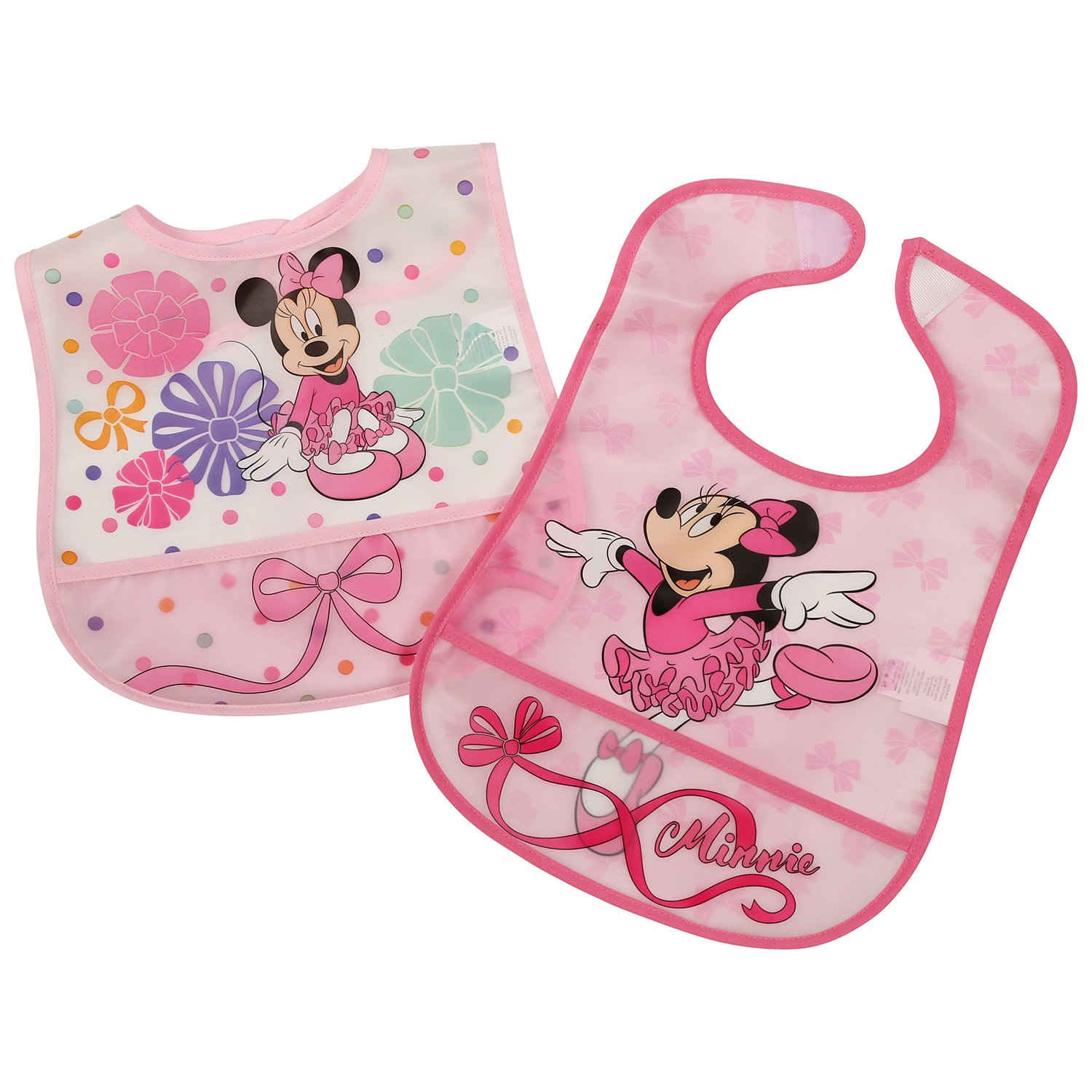 Disney Minnie Mouse 2Piece Printed Frosted Water Proof Peva Bib Crumb Catcher Pocket