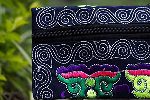 Carteras de BaZhaHei,Bolso de Embrague Bordado Hecho a Mano étnico de Las Mujeres Bolso de Monedero de la Vendimia Billetera para Tarjetas de Crédito Súper ...