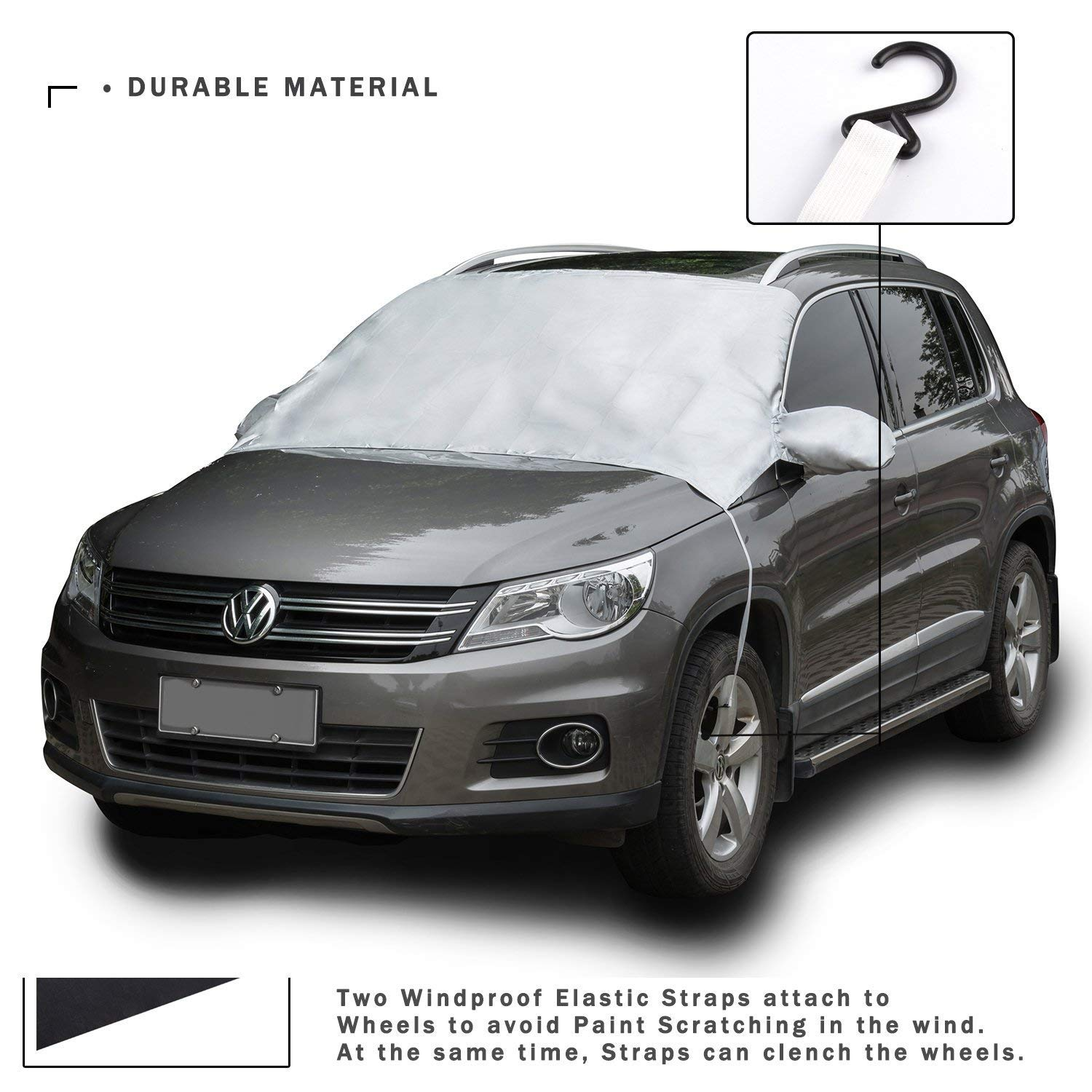 Waterproof Windproof Dustproof Outdoor Car Covers Silver Windshield Cover Snow Ice Frost Rain Resistant