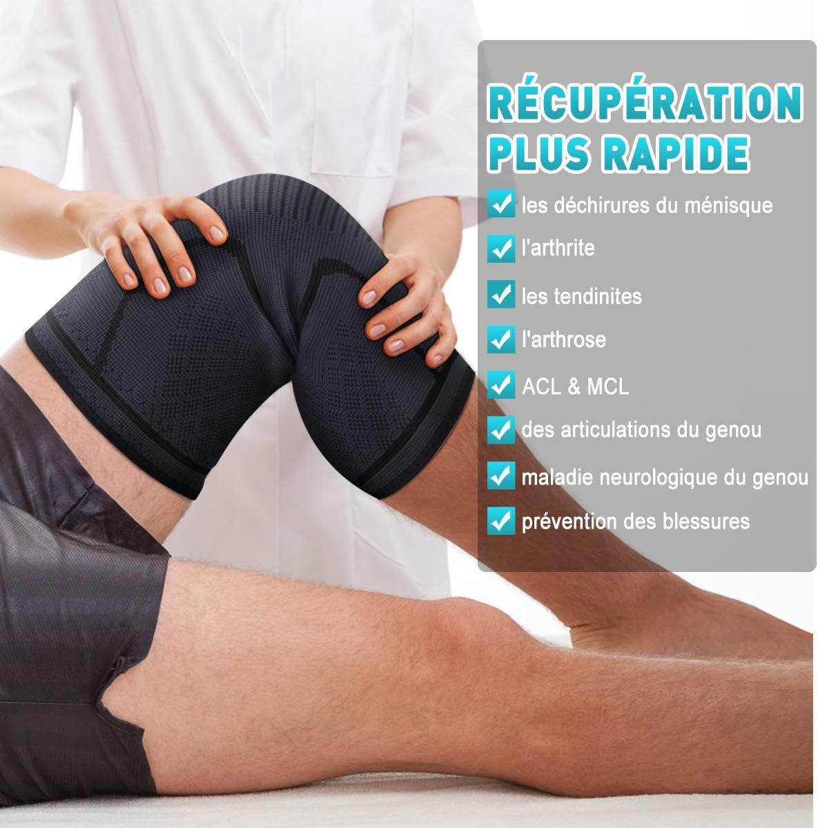 Rugby Course /à Pied Antid/érapant Attelle Genou pour Arthrite Cyclisme Tennis Douleur au M/énisque AVIDDA Genouill/ère Ligamentaire de Maintien Hommes et Femmes