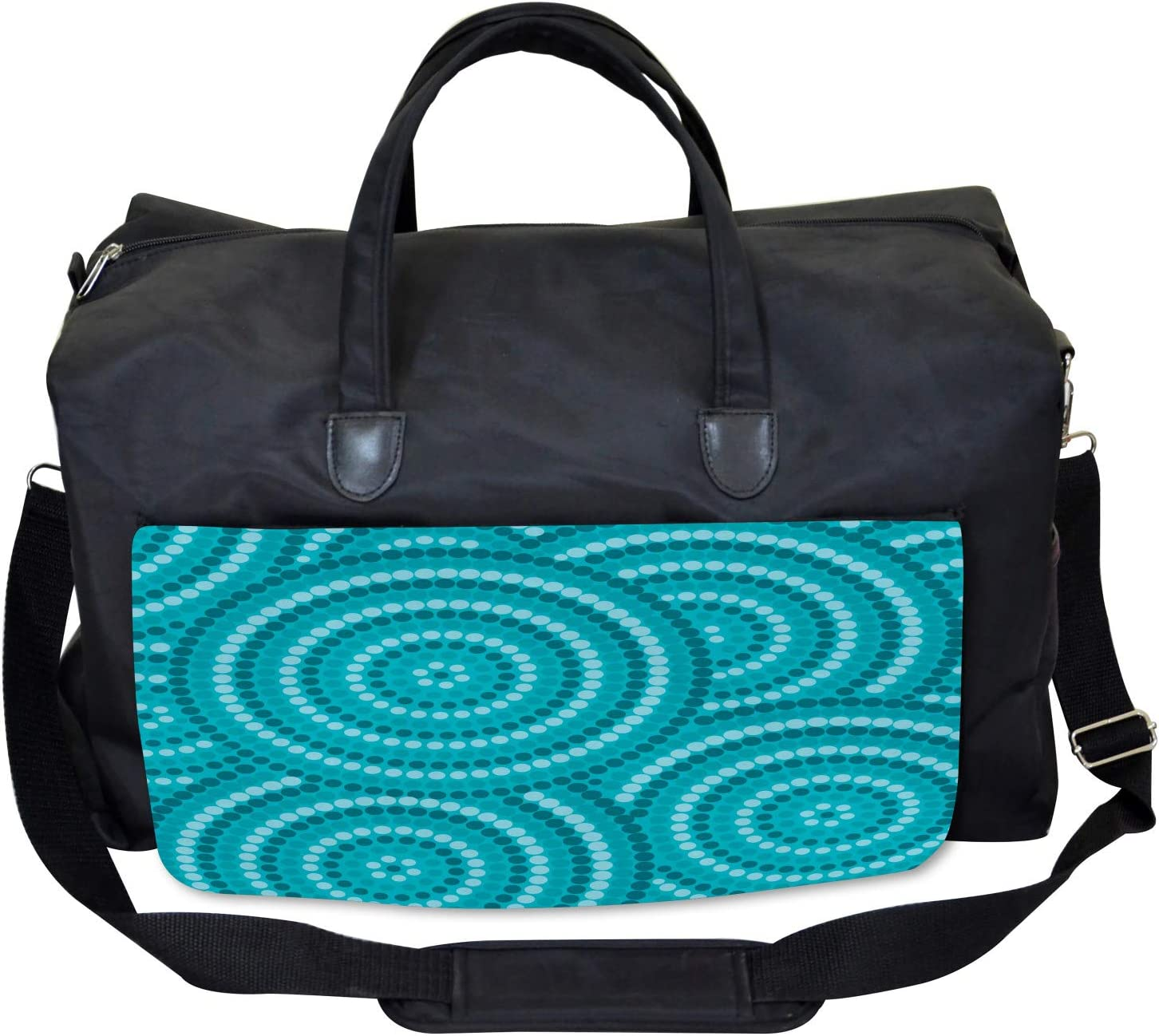 Large Weekender Carry-on Ambesonne Teal Gym Bag Abstract Australian Dots