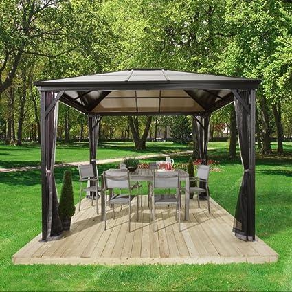 Amgs Hot Tub Gazebo Canopy 10x10 Bbq Grill Cover Set Patio Backyard Garden Heavy Duty Top