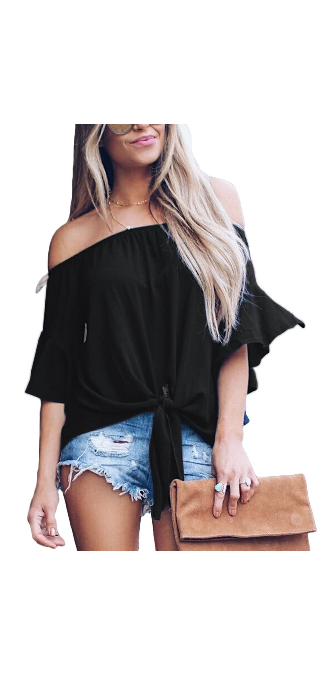 Womens Solid Bell Sleeve Off Shoulder Blouse Tops Front Tie
