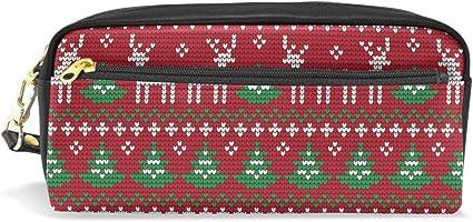 Estuche para lápices de Navidad con diseño de árbol de reno de invierno para niños y niños, bolsa de piel grande con cremallera para la escuela, estudiante, cosméticos, maquillaje: Amazon.es: Oficina y