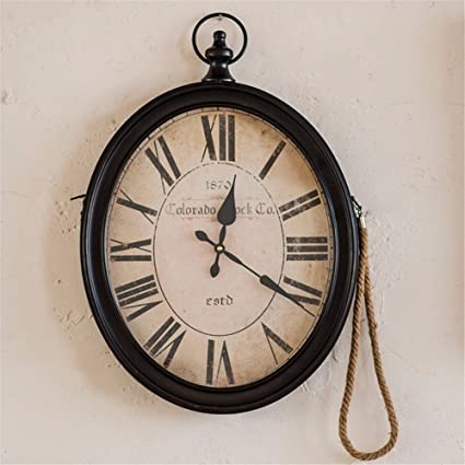 "Retro Nostalgic Clock Clock Wall Clock 20 ""Oval Ornament Wall Mount Clock ..."