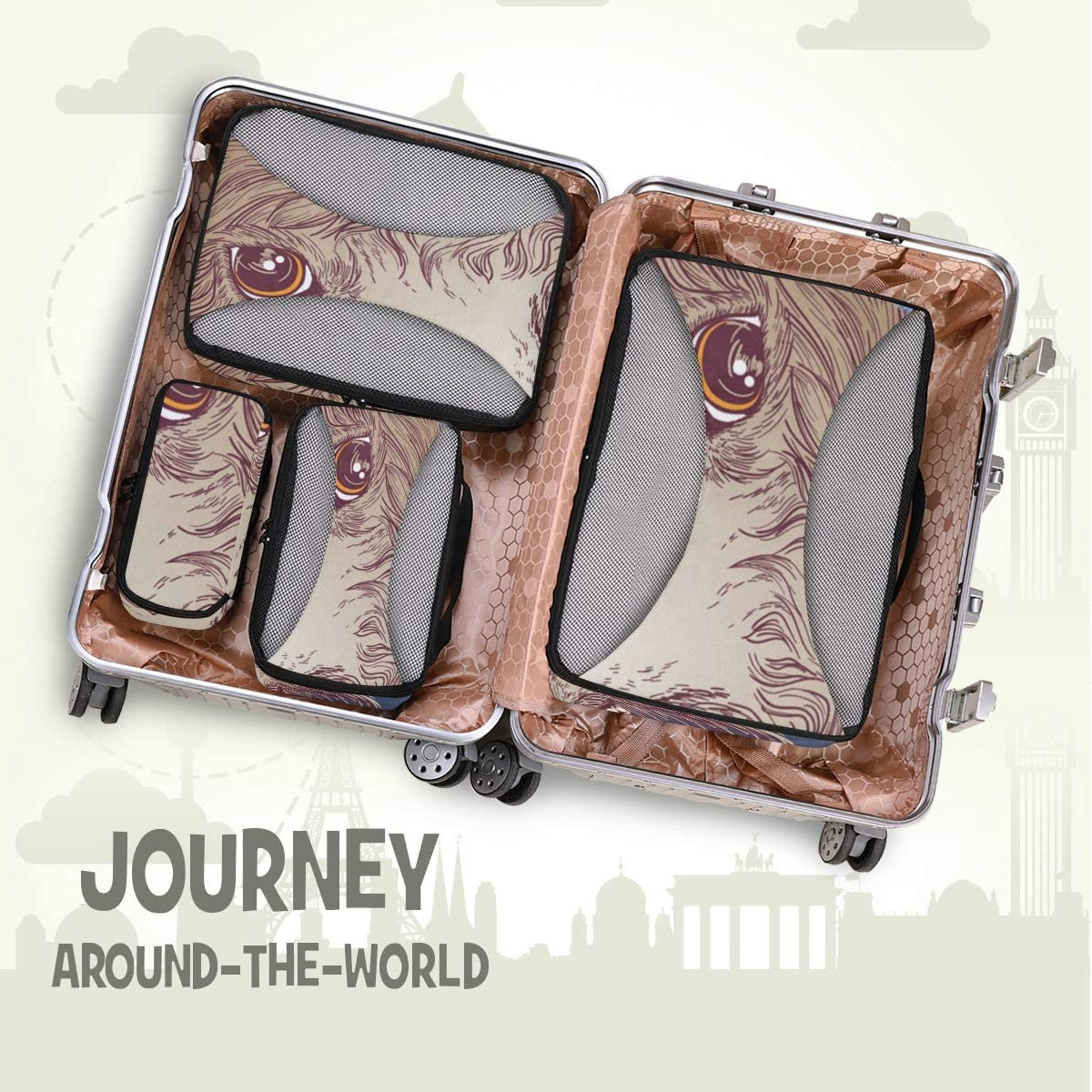 4 Set Packing Cubes Travel Luggage Packing Organizers Cheerful Alpaca