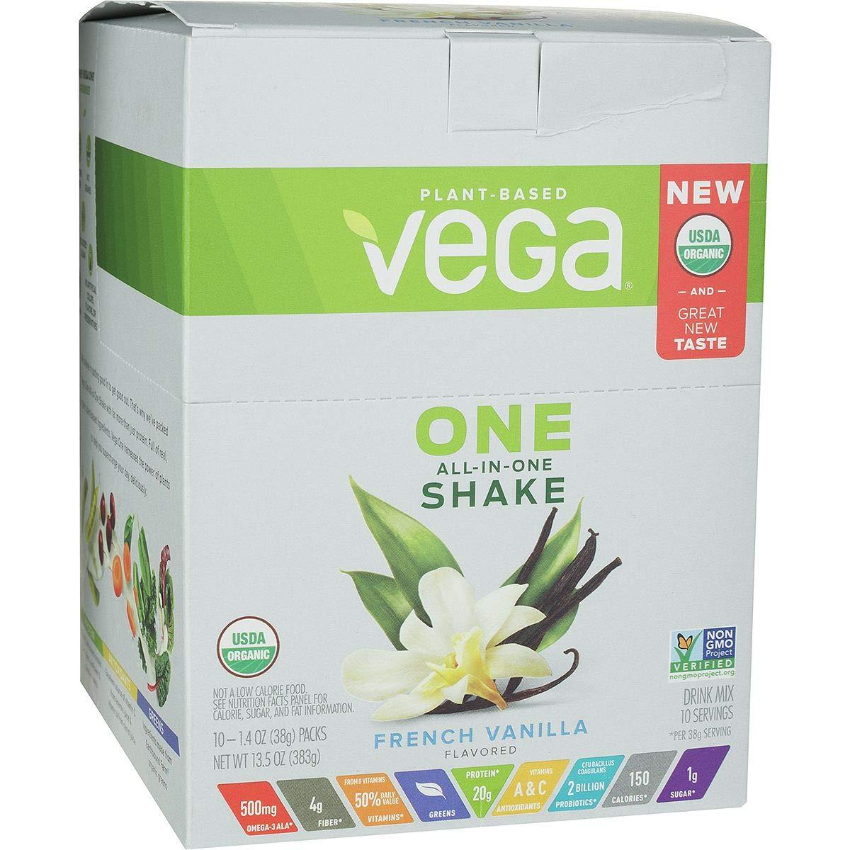 Vega, Protein Powder One Us French Vanilla Box Organic, 1.4 Ounce, 10 Pack by VEGA
