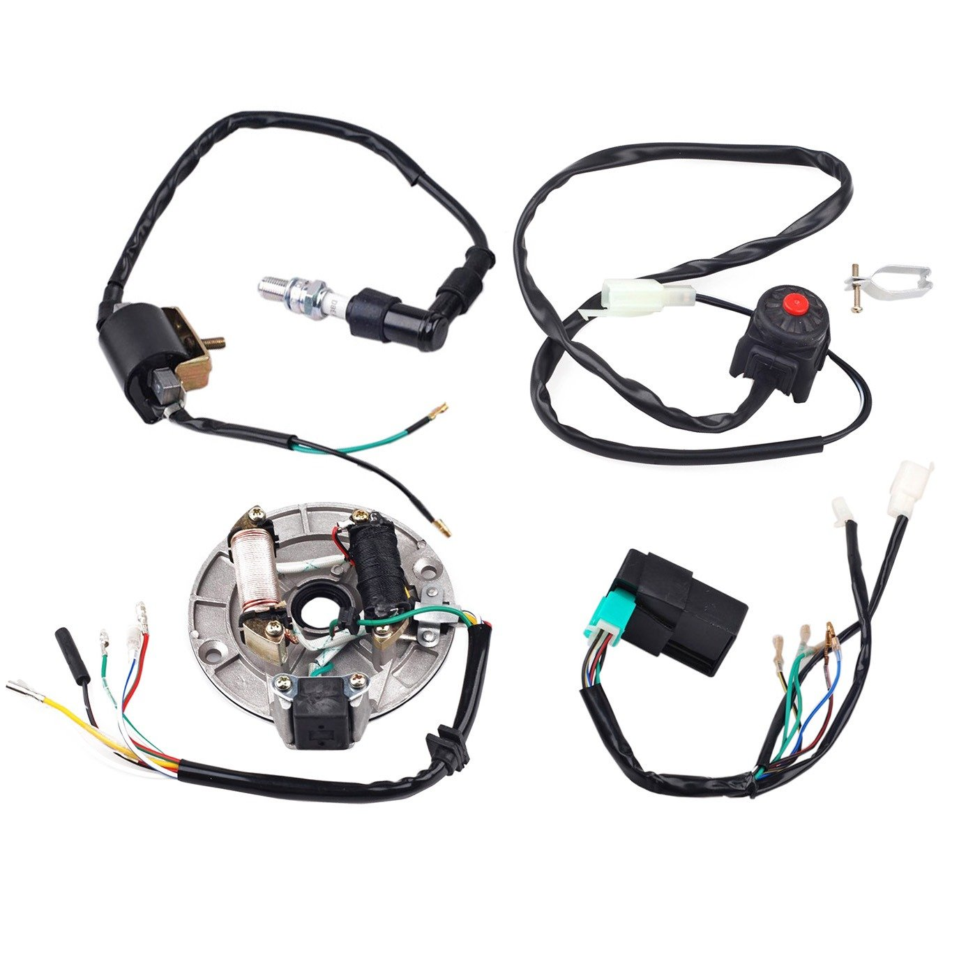 Jcmoto Wire Harness Wiring Loom Cdi Coil Magneto Ssr Pit Bike Ignition Rebuild Kit For Kick Start Dirt 50 125cc Automotive