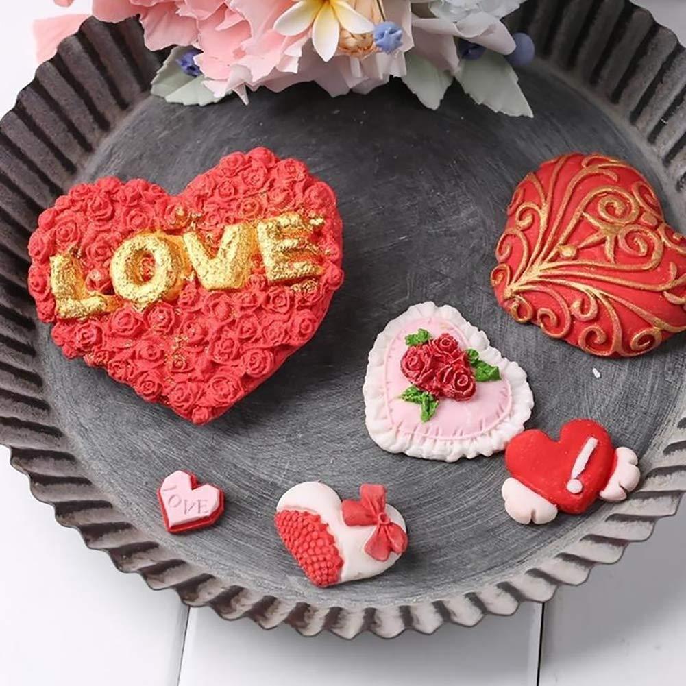 Silicone Mould Red Rose Valentine Romantic Love Sugar craft Cupcake Topper Fimo