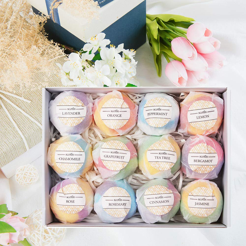 Natural Organic Bath Bombs Gift Sets of 12- Essential Oil Massage Bath Bomb, Perfect for Dry Skin Moisturize