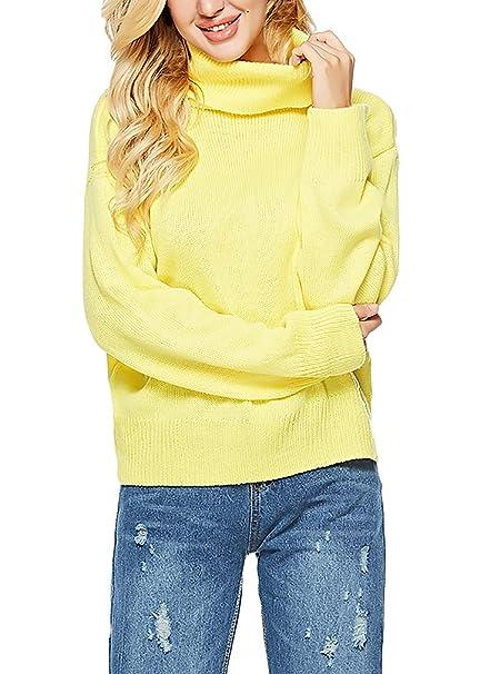 9c4239704607 Mujer Jersey Cuello Alto Otoño Invierno Termica Suéter Pullover Elegantes High  Collar Manga Larga Especial Estilo Moda Anchas Casuales Sweater Suéter De  ...