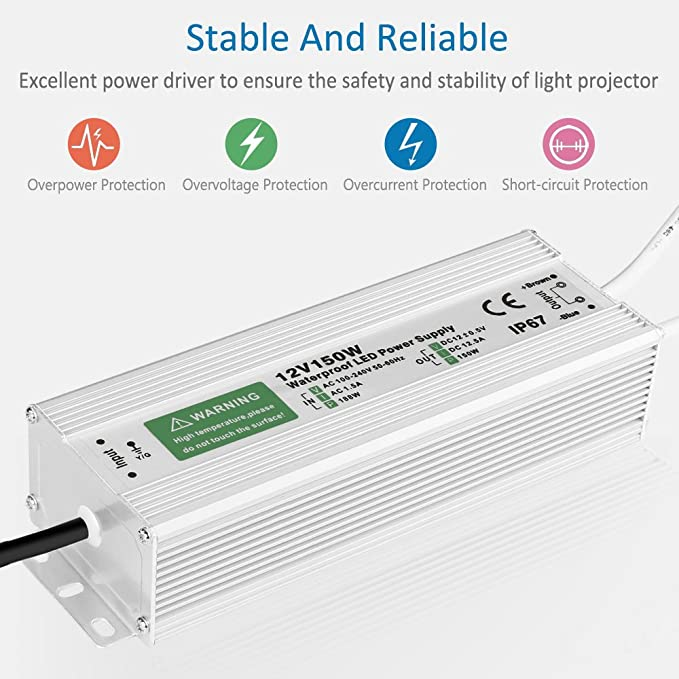LED4EVERYTHING TM UL Listed 12v 200w 16a Power Supply Driver IP 67 Waterproof for LED Strip Light