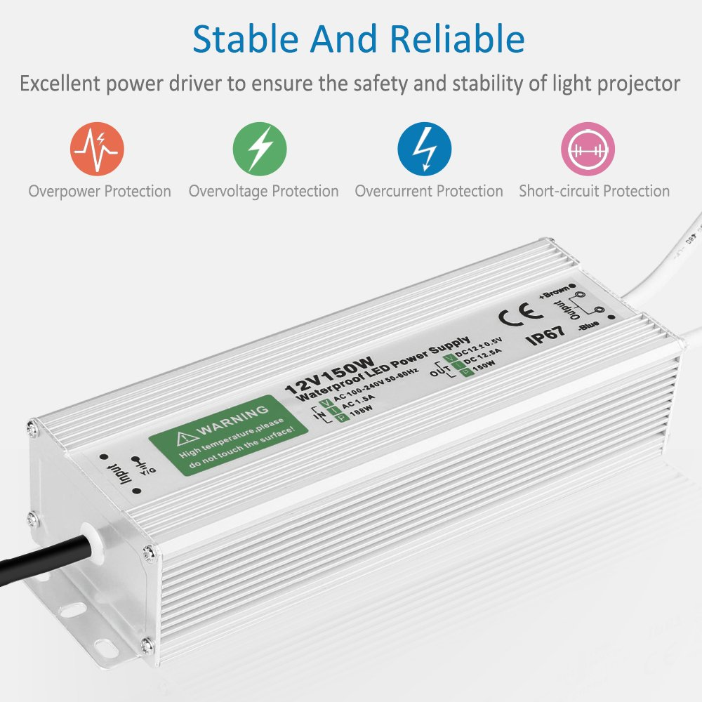 150W LED Power Supply Waterproof IP67 Driver Transformer 120 to 12 Volt DC Output, AC/DC 12V 12.5A Switching Power Supply by LEDMO (Image #2)