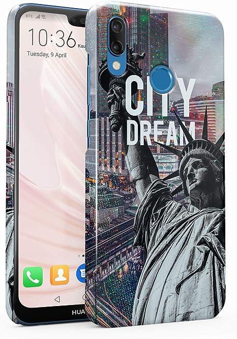 MerchCandy Custodia in Plastica Rigida per Huawei P20 Lite Sparkles Trippy Holographic New York America Liberty Statute USA Dream Country Travel NYC ...