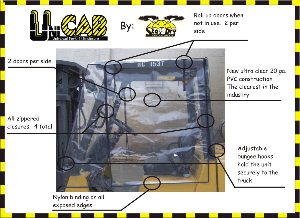 Heavy Duty Full Forklift Cab Enclosure Cover Clear Vinyl Wiring Harness Toyota 8fgu25 Std Size Automotive