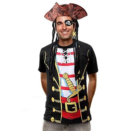 Latocos Pirate Costume Men Women Caribbean Pirate Hat Shirt Halloween Pirate Costume Accessories(4 Pack)